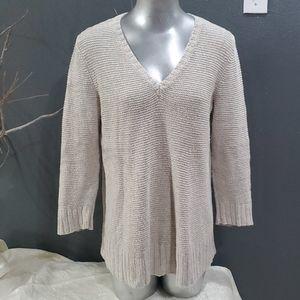 Eileen Fisher V-neck Organic Linen Sweater Size L